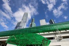 Меньшее кольцо железных дорог Москвы и небоскребов международных делового центра & x28; City& x29; , Россия стоковое изображение rf