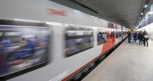 Меньшее кольцо железных дорог Москвы 54 орбитальная железная дорога 4-kilometre-long в Москве Россия Железнодорожный вокзал Plosh Стоковое Фото