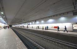 Меньшее кольцо железных дорог Москвы 54 орбитальная железная дорога 4-kilometre-long в Москве Россия Железнодорожный вокзал Plosh Стоковые Изображения