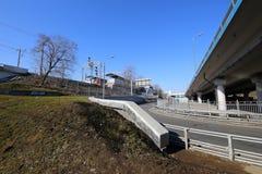 Меньшее кольцо железных дорог Москвы 54 орбитальная железная дорога 4-kilometre-long в Москве Россия Стоковые Фото