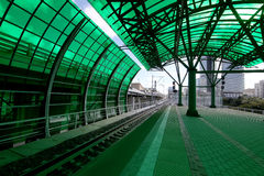 Меньшее кольцо железных дорог MCC Москвы, или MK MZD, 54 железная дорога орбитали 4-kilometre-long Россия Железнодорожный вокзал  Стоковое Фото