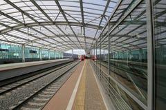 Меньшее кольцо железных дорог MCC Москвы, или MK MZD, Россия Железнодорожный вокзал Luzhniki Стоковые Фото