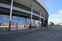 Меньшее кольцо железных дорог MCC Москвы, или MK MZD, Россия Железнодорожный вокзал Luzhniki Стоковое Изображение RF