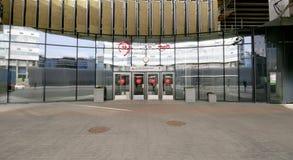 Меньшее кольцо железных дорог MCC Москвы, или MK MZD, Россия Железнодорожный вокзал Tsentr (написано в русском) Стоковое Изображение RF