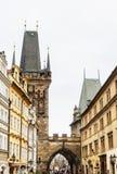 Меньшие башни моста городка Прага взгляд городка республики cesky чехословакского krumlov средневековый старый стоковые фотографии rf