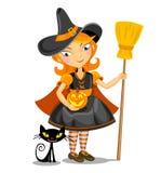 Меньшие ведьма хеллоуина и черный кот иллюстрация штока