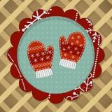 Меньшие милые пары красного mitten Стоковая Фотография