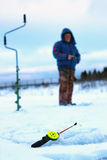 Меньший лед рыболовной удочки зимы Стоковые Фото