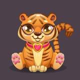 Меньший значок тигра младенца милого шаржа сидя Стоковые Изображения