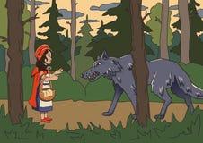 Меньший красный клобук катания с большим плохим волком в темных древесинах Иллюстрация сказки вектора Стоковая Фотография RF
