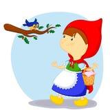 Меньший красный клобук катания и птица Стоковое Изображение RF