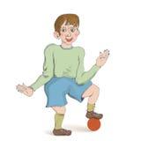 Меньший мальчик шаржа с шариком Стоковое Фото