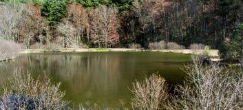 Меньший пруд мельницы Glade, голубой бульвар Риджа, Северная Каролина, США Стоковые Фото