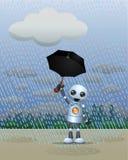 Меньший робот играя в дожде держа зонтик стоковая фотография