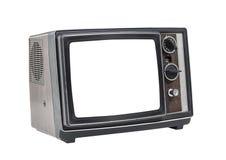 Меньший старый портативный телевизор с отрезка экраном вне Стоковые Фотографии RF