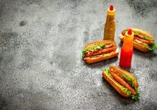 Меню быстро-приготовленное питания Хот-доги жалуются барбекю с травами, кетчуп и горячим мустардом Стоковые Фотографии RF
