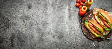 Меню быстро-приготовленное питания Хот-доги жалуются барбекю с травами, кетчуп и горячим мустардом Стоковые Изображения