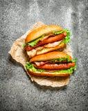 Меню быстро-приготовленное питания Хот-доги жалуются барбекю с травами, кетчуп и горячим мустардом Стоковое Изображение RF