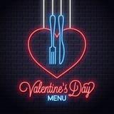 Меню дня Святого Валентина неоновое Сердце вилка и нож иллюстрация штока