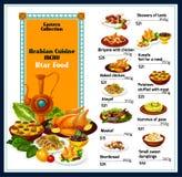 Меню еды блюд аравийской кухни традиционное иллюстрация вектора