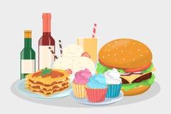 Меню еды для партии Очень вкусная закуска иллюстрация штока