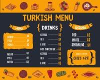 Меню еды современного эскиза турецкое с Kebab, Dolma, Shakshuka, shisha Freehand doodles вектора изолированные на темноте иллюстрация вектора