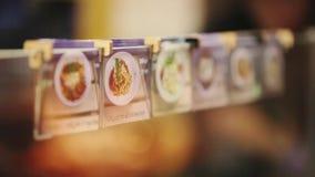 Меню изображения Имя блюда Кухня Ресторан сток-видео