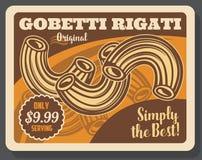 Меню итальянской кухни макаронных изделий rigati Gobetti бесплатная иллюстрация