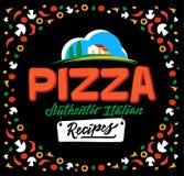 Меню и литерность крышки пиццы Предпосылка нарисованная рукой с свежими ингридиентами также вектор иллюстрации притяжки corel Стоковые Изображения RF