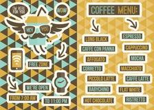 Меню кафа. Безшовные предпосылки и элементы дизайна Стоковая Фотография RF