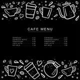 Меню кафа доски с кофейными чашками и стручками кофе в стиле doodle Handdrawn иллюстрация вектора Стоковые Изображения