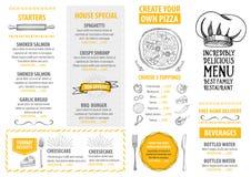 Меню кафа ресторана, дизайн шаблона Рогулька еды бесплатная иллюстрация