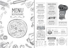 Меню кафа ресторана, дизайн шаблона Рогулька еды Стоковое фото RF