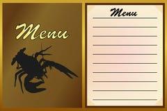 Меню кафа, ресторан с логотипом омара или ракообразный вектор Стоковые Изображения