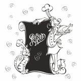 меню Кашевар шеф-повара и кота в стиле шаржа Мел на доске меню Бон Appetit литерность Для детей также вектор иллюстрации притяжки иллюстрация вектора