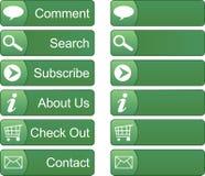 меню кнопок зеленое Стоковое Изображение RF