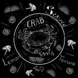 Меню краба литерности, свежий краб, морепродукты, меню, ресторан морепродуктов, рука нарисованная с ручкой щетки Стоковое фото RF