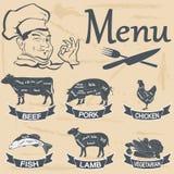 Меню мяса Стоковые Изображения