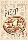 Меню пиццы Художественный дизайн меню иллюстрация вектора