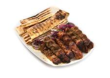 Меню ресторана мясо на протыкальниках Стоковое фото RF