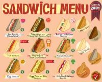Меню сандвича Стоковое Изображение RF