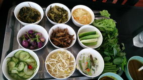 Меню травы и veggies Spicynoodel в еде улицы Таиланда Стоковые Фотографии RF