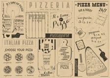 Меню Placemat пиццы Стоковое Фото
