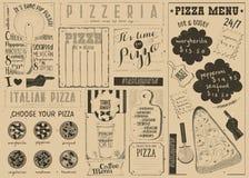 Меню Placemat пиццы Стоковое Изображение