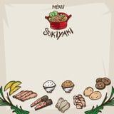 Меню Sukiyaki Стоковые Изображения
