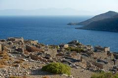Мертвая деревня в острове Tilos, Греции Стоковые Изображения