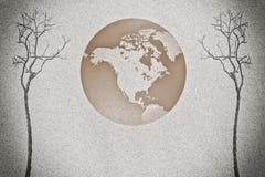 Мертвая предпосылка дерева и песка Стоковая Фотография