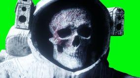 Мертвый астронавт зомби в космосе кадавр зеленый экран Реалистическая анимация 4K иллюстрация вектора