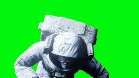 Мертвый астронавт зомби в космосе кадавр зеленый экран Реалистическая анимация 4K бесплатная иллюстрация