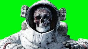 Мертвый астронавт зомби в космосе кадавр зеленый экран Реалистическая анимация 4K иллюстрация штока